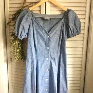 {Vintage} Button Down Denim Dress w/ Puff Sleeves